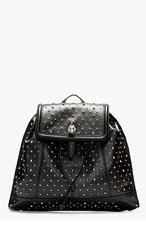 ALEXANDER MCQUEEN Black Studded Leather Skull Padlock Backpack for women