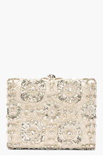 ALEXANDER MCQUEEN Grey Embroidered Crystal EVENING BOOK Clutch for women