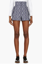 THOM BROWNE Navy Rope & Anchor Mariner Shorts for women