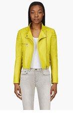 MCQ ALEXANDER MCQUEEN Chartreuse Quilted Shoulder Leather Biker Jacket for women