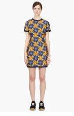MOTHER OF PEARL Blue & orange Polka Print Fitted Hudson Dress for women