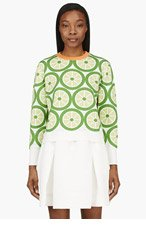 MOTHER OF PEARL Green & Orange Cotton Lime Foyle Sweater for women
