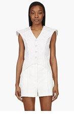 THOM BROWNE White Silk HIGH FIN Tudor Ruff Blouse for women