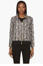 MONCLER GAMME ROUGE Beige & Black Python Print Puff Bomber Jacket for women