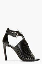 PROENZA SCHOULER Black Leather Woven Heeled Sandals for women