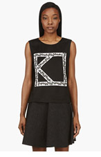 KENZO Black Logo Ribbon Viscose Tank Top for women