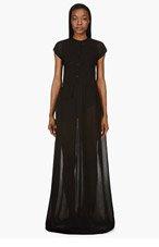 YANG LI Black Semi-Sheer Overlong Maxi Dress for women