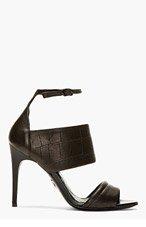 MCQ ALEXANDER MCQUEEN Black Leather Croc-embossed Heeled Sandals for women
