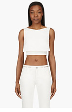 MCQ ALEXANDER MCQUEEN White Cropped Party Tank Top for women