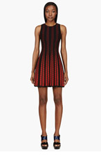 ALEXANDER MCQUEEN Black & Red Knit Pleated Full Circle Dress for women