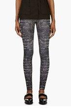 MCQ ALEXANDER MCQUEEN Black Crocodile Print Leggings for women