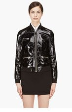 MACKAGE Black Glossy Leather Katie Bomber Jacket for women