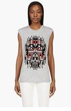 ALEXANDER MCQUEEN Grey Velvet Digital SKULL OVERSIZED Muscle shirt for women