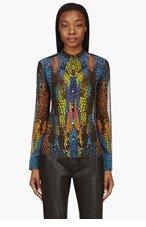 MCQ ALEXANDER MCQUEEN Blue Kaleidoscope Crocodile Print Sheer Silk Blouse for women