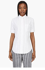 THOM BROWNE White Pinstripe Menswear Blouse for women