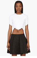 ALEXANDER MCQUEEN White Lace-embossed CROP TOP Blouse for women