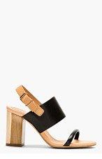 VERONIQUE BRANQUINHO Black & Nude Leather Heeled Sandals for women