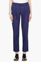 VERONIQUE BRANQUINHO Navy blue Belted Cotton Trousers for women