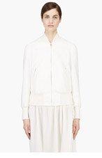 VERONIQUE BRANQUINHO White Cotton Tweed Bomber Jacket for women