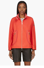 MONCLER GAMME ROUGE Vermilion Red Hideaway Hood Trapeze Jacket for women