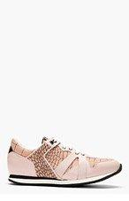 MCQ ALEXANDER MCQUEEN Dusty Rose Croc-print Paneled Sneakers for women