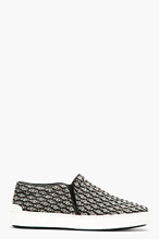 RAG & BONE Black & White Graphic Jacquard Kent Slip-On Shoes for women