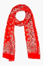 SAINT LAURENT Red Paisley Silk Cashmere Scarf for women