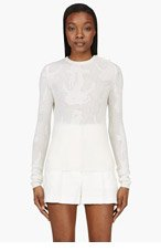 THOM BROWNE Ivory Cashmere Anchor Sweater for women