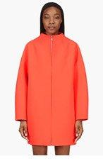 KENZO Neon Coral Neoprene Long Volumized Coat for women