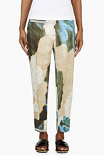 ACNE STUDIOS Blue & green Linen Wallpaper print SAVIOUR Trousers for women