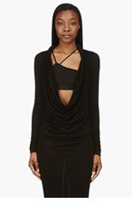 GIVENCHY Black Rolled Yoke Plunging Cowl Neck Blouse for women