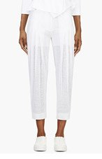 MAIYET White Gauze Perforated Trousers for women
