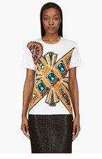 VERSACE Cream Jewel Print Viscose T-Shirt for women