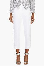 THOM BROWNE White Cropped Linen Pearl Button Trousers for women
