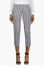 THOM BROWNE Navy & White Striped Cropped Trousers for women