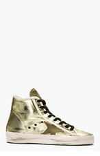 GOLDEN GOOSE Gold & Green Leather Francy Sneakers for women