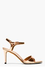 GIVENCHY Bright Copper Patent Leather Sandals for women