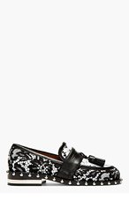 GIVENCHY BLACK & WHITE LACE Studded LOAFERs for women