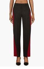 MAISON MARTIN MARGIELA Black & Oxblood Colorblocked Mohair Trousers for women