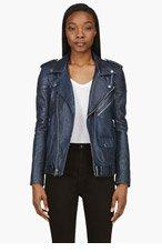 BLK DNM Navy Leather Biker Jacket for women