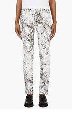 MCQ ALEXANDER MCQUEEN Black & White Crackled Paint Skinny Jeans for women