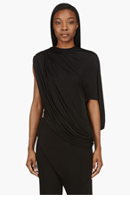 GIVENCHY Black Crewneck Asymmetrical Viscose Jersey Blouse for women