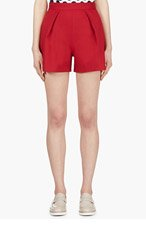 MOTHER OF PEARL Red Pleated Wool Shorts for women