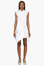 MAIYET White Metallic Embroidery Wrap Shirt Dress for women