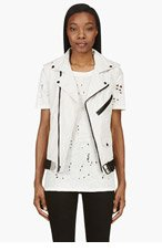 BLK DNM Ivory & Black ICONIC MOTORCYCLE VEST for women
