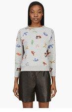 MAISON KITSUNE Heather Grey Fox Print Sweater for women