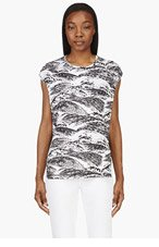 KENZO Black & White Jersey 'Pacific Waves' Print Muscle T-Shirt for women