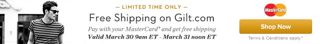 Free Shipping with MasterCard