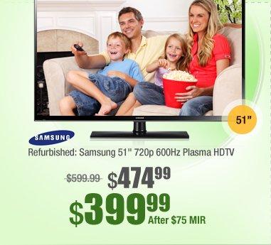 "Refurbished: Samsung 51"" 720p 600Hz Plasma HDTV"