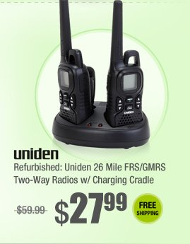 Refurbished: Uniden 26 Mile FRS/GMRS Two-Way Radios w/ Charging Cradle